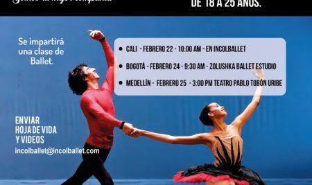 Convocatorias 2020 Compañía Colombiana de Ballet Clásico Incolballet